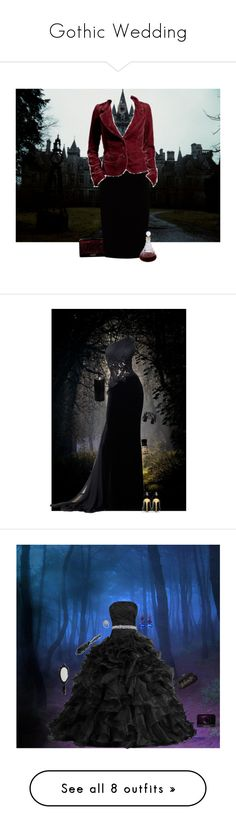 """""""Gothic Wedding"""" by thisrandomusername ❤ liked on Polyvore featuring wedding, goth, bridal, groom, darkromantic, Jupe By Jackie, Juicy Couture, Zuhair Murad, Lisa August and Boston Warehouse"""