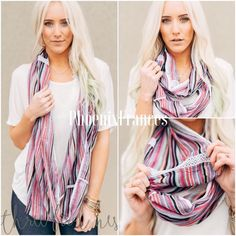 """Three Bird Nest Sunset Sky Loop Infinity Scarf This lighter than air loop is the best it gets for spring scarves. Flaunting lace trim and bold prints this scarf makes a statement without saying a word. 100% Cotton 