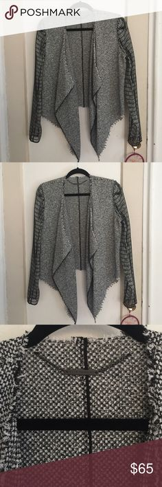 New Gorgeous Tweed Elie Tahari Jacket. Size M Rare one of a kind Elie Tahari tweed open jacket/overlay. Pictures don't do it justice the sleeve netting detail is amazing. This is new has never been worn and can't be returned! It cost me a fortune at Saks Fifth Ave and I'm selling it for a fraction! Size M its roomy (can fit most large) Elie Tahari Jackets & Coats