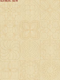 Continuous line quilting motifs machine embroidery designs set5