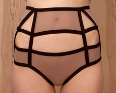 Cut Out Lingerie Cage Style High Waist Panties by MathMystic on Etsy