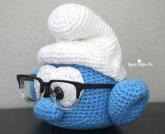 #crochet, free pattern, amigurumi, holder for glasses, head, face, BrainySmurf, decoration, #haken, gratis patroon (Engels), hoofd als houder voor bril, slimme smurf, hoofd voor pop, knuffel, #Haakpatroon