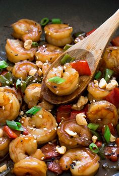 Amazing Kung Pao Shrimp used pea pods instead of green peppers and added a little more sriracha sauce.