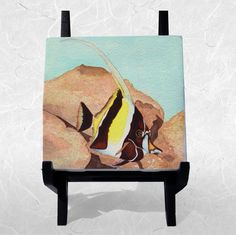 "Ceramic Tile On Wood Easel 4.25 X 4.25"" Featuring The Lone Angelfish Watercolor"
