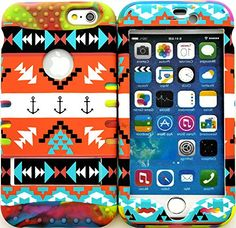 "myLife Stylish Design and Layered Protection Case for iPhone 6 Plus (5.5"" Inch) by Apple {Marbled Blue + Red + Orange ""Nautical Aztec Anchor Finish with Kickstand"" Three Piece SECURE-Fit Rubberized Gel} myLife Brand Products http://www.amazon.com/dp/B00PX80O5A/ref=cm_sw_r_pi_dp_nX2Cub0PAJZ4A"