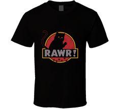 Cute Black Cat Jurassic Park logo parody t-shirt FUNNY