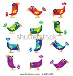 Vector colorful cartoon cute birds