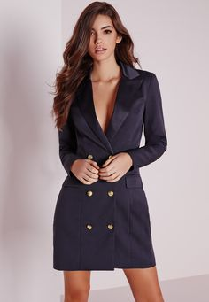 Look fierce this season in this Navy blazer dress. In a figure flattering fabric this navy number with long sleeves, pocket front, silk collar and gold button feature is seriously chic. Team with some strappy heels and matching clutch for a...