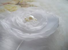 White Hand Singed Large Flower Fascinator Tulle by handcraftusa