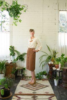 Silk Shirt with textured collar Cotton safari skirt Lyon Falls Summer 2014 Lookbook lyonfalls.com