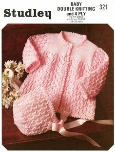 INSTANT DOWNLOAD Pdf Baby Knitting Pattern - Matinee Coat and Matching Bonnet - DK or 4 Ply - Patterns for both yarns - Sizes 16, 18 and 20