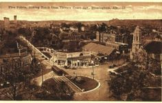 Vintage Birmingham postcard: Five Points South, looking north from Terrace Court Apartments