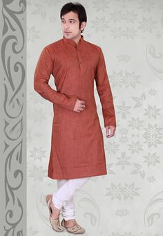 Brown Cotton Blend Readymade Kurta With Churidar