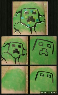 Step by step Minecraft creeper facepainting by Daniëlle