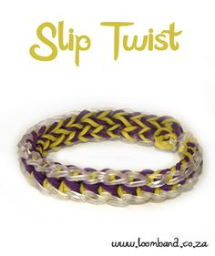 Slip Twist Loom Band Bracelet Tutorial, instructions and videos on hundreds of loom band designs. Shop online for all your looming supplies, delivery anywhere in SA. Rainbow Loom Patterns, Rainbow Loom Bands, Rainbow Loom Charms, Rainbow Loom Bracelets, Loom Bands Designs, Bracelet Designs, Bracelet Patterns, Loom Band Bracelets, Rubber Band Bracelet