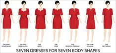 Find the right dress shape for your body type. | 41 Insanely Helpful Style Charts Every Woman Needs Right Now