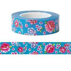 15M For fun washi tape, Japanese Washi Masking Tape (9327808, blue, red flower)