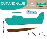 Cut and glue to create image of seaplane air transport. Educational game for children Royalty Free Stock Photo