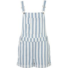 MOTO Stripe Denim Dungarees ($70) ❤ liked on Polyvore featuring jumpsuits, rompers, dresses, romper, shorts, denim, playsuits, stripe romper, denim rompers and denim romper
