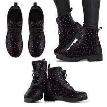 Black Music Notes on Women's Leather Boots - Mobilodome - Astrology party Vegan Leather, Leather Men, Music Shoes, Vegan Boots, Artificial Leather, Black Leather Boots, Designer Shoes, All Black Sneakers, Vegan Friendly