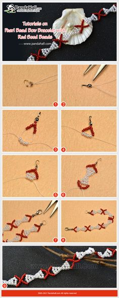 How to DIY Pearl Bead Bow Bracelet with Red Seed Beads The bracelet is made of pearl beads and seed beads. The making way is to thread the beads into a bow shape.