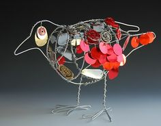 wire bird. sculpture. Another great example of mixed media...could be easily converted to a trash sculpture