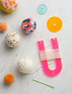 Pom Pom Maker Set - love the kit with the small and large pom pom makers Crafts For Teens To Make, Crafts To Sell, Easy Crafts, Diy And Crafts, Craft Projects, Crafts For Kids, Arts And Crafts, Paper Crafts, Hero Crafts