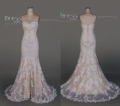 Gorgeous Ivory Sweetheart Lace Prom DressMermaid Beading Wedding - http://www.usedweddingresales.com/gorgeous-ivory-sweetheart-lace-prom-dressmermaid-beading-wedding/