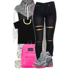 03.28.15 by jadeessxo on Polyvore featuring polyvore, fashion, style, JanSport, Auriya, Kenneth Cole and NIKE