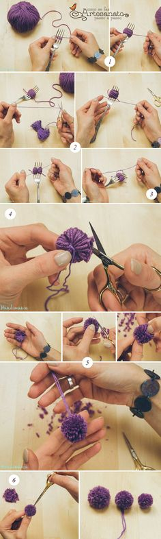 pom pom how to Hobbies And Crafts, Diy And Crafts, Crafts For Kids, Arts And Crafts, Pom Pom Crafts, Yarn Crafts, Pom Pom Rug, Creation Deco, Diy Décoration