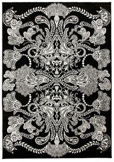 Black and white area rug. Du Monde Furnishings.