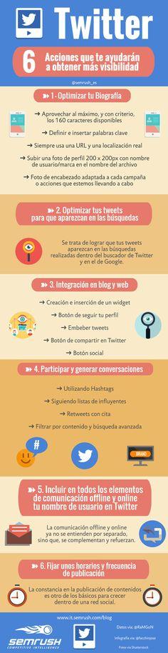 6 acciones para tener más visibilidad en Twitter #infografia #infographic #socialmedia