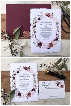Burgundy Floral Wedding Invitation, Handmade paper, Deckled Edge – Love of Creating Design Co.
