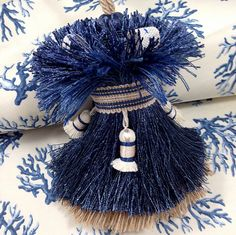 Blue Ivory and Tan Home Decor Tassel by lulabellestyle on Etsy