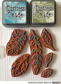 Multi colour stamping with Distress Oxide inks and Darkroom Door Fine Leaves stamp set