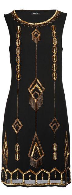 Art Deco Wedding Dress Mood Board | Black and Gold Sequin Dress
