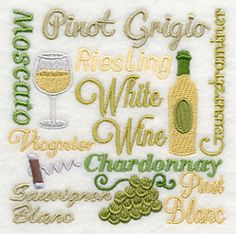 White Wine Square design (L8790) from www.Emblibrary.com