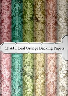 this is a set of 12 a4 background papers in f floral grunge type which coukd be used for a multitude of occassions they can be used for a retirement card a background for your steampunk cards or all sorts of occassions