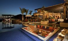 Sunken outdoor patio / pool--I suppose I could stand this for a little while! lolol...WOW!