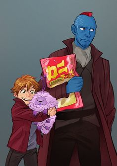 Yondu and Peter for the amazing story Hope is a Feathered Thing by the equally amazing @laylainalaska! just fun family times in space! Peter getting a pet and looking happy and Yondu looking much more annoyed than he actually is! :D also now that i...