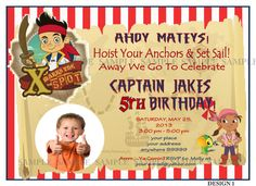 Jake  the Pirates Personalised Birthday Invitation DIY - YOU PRINT  £9.90