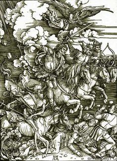 Die vier Reiter der Apokalypse, aus der Offenbarung des Johannes / Четыре всадника Апокалипсиса из Откровения святого Иоанна. 1497-1498. Альбрехт Дюрер