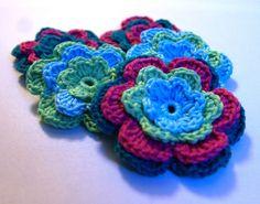 Set of crocheted applique multicolor flowers by MotivesAndPatterns, $6.99