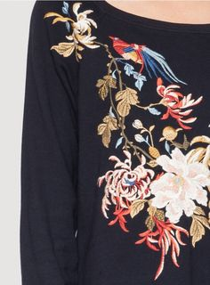 Front Detail: Johnny Was Clothing JWLA Embroidered Celeste High/Low Sweatshirt in Black/Multi #johnnywas #embroidery