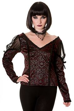 Victorian Inspired Burgundy Ivy Top.  Banned Apparel.