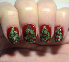 Challenge Your Nail Art 12 Days of Christmas challenge, Day 2 - Christmas trees