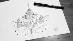 Sternum tattoo design mandala / chandelier
