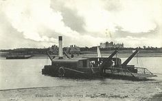 Steam chain ferry at Felixstowe ferry with Bawdsey manor in the background.