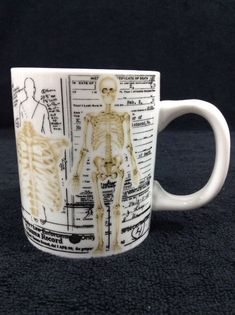 Human Anatomy Mug Skeletons Cup Coffee Ceramic Medical Doctor Med Student Gift