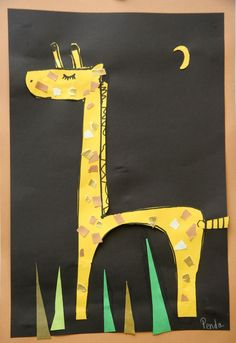 Splish Splash Splatter: Kindergarten giraffe- would be a fun collage project for our mini-doodlers